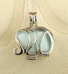 Sea Glass Necklace Elephant Locket Blue Milk by seaglassgems4you, $37.00