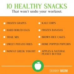 10 Healthy Snacks That Wont Undo Your Workout! Great foods that wont ruin all your hard work that you just did at the gym!