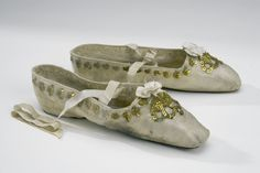 Coronation Slippers: 1829, silk atlas, embellished with sequins, glazed linen, glazed cowhide. Belonged to Queen Desideria of Sweden/Norway (8 November 1777 – 17 December 1860).