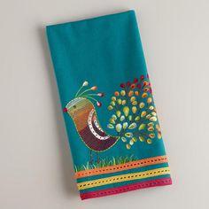 """Teal Peacock Tea Towel"""
