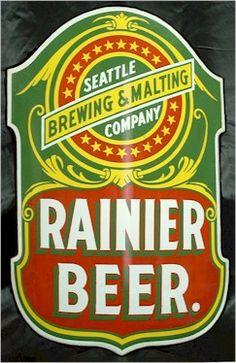 Rainier Beer curved enamel sign
