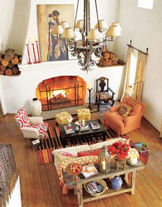 interior design, reese witherspoon, living rooms, warm colors, country houses, fireplac, family rooms, fall decorating, spanish style