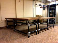Massive U-Shaped Butcher Block IT Work Bench - made with #KeeKlamp