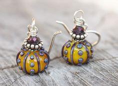 Yellow and Purple Sea Urchin Style Earrings