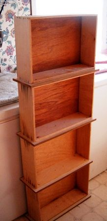 repurposed drawers as a bookcase..