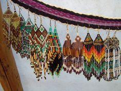 bead earrings, american seed, beaded earrings, seed beads, earrings long