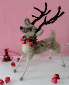Christmas Reindeer OOAK Wool needle felted by swanquarterhouse, $60.00