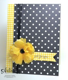 Artisan Wednesday Wow – Polka Dots and Plaid Posted on August 27, 2013 by Jentimko. | Stamp:  Label Love; Paper:  Modern Medley DSP, Very Vanilla; Ink:  Basic Black Stampin' Write Marker; Accessories:  Big Shot, Fun Flowers Die, Gingham Garden Washi Tape, Clear Stampin' Emboss Powder, Heat Tool, Neutrals Designer Buttons, Black Thread