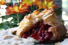Cranberry Pecan Brie Wrapped in Phyllo