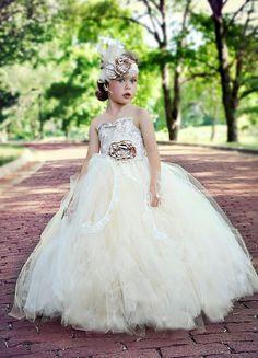 flower girl dress, vintage flower girl tutu dress, custom champagne and ivory lace tutu dress on Etsy, $110.00