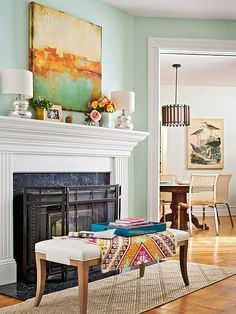 wall colors, green walls, colorful mantle decor, bench, fireplac, mantel, paint room colors, column, paint colors
