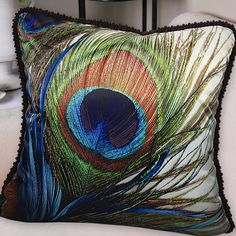 Decorative high quality satin fabric throw pillow case cushion cover  with dark brown boarder 19.5'' /peacock/feather