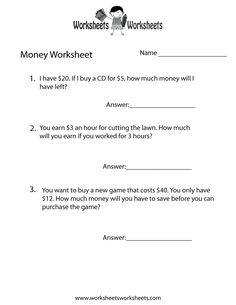 Money Word Problems Worksheet - Free Printable Educational Worksheet