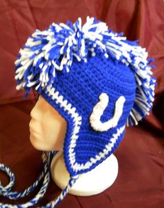 Indianapolis Colts Crochet Mohawk Hat with Horseshoe by CDBSTUDIO, $35.00