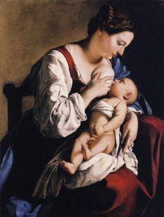 #Breastfeeding, #painting, Gentileschi on Breastfeeding.
