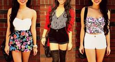 Three high waisted shorts outfit ideas
