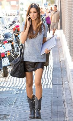 Sara Carbonero Is Wearing Leather Mini  Skirt Grey Tee And Studded Biker Boots