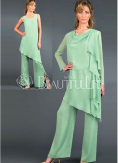For Mom -Chiffon Mother Of The Bride Pant Suits
