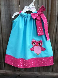 blue & hot pink pillowcase dress with owl girl applique    Add it to your favorites to revisit it later.  Lovely blue & hot pink pillowcase dress with owl girl applique