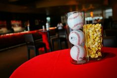 Baseball and popcorn centerpieces //