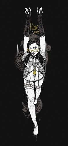 """L."" - Francis Vallejo (collaboration with Phidias Gold and model L.Shima), ink and digital {contemporary figurative artist standing female black background t-shirt illustration}"