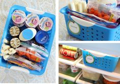 "make up a ""lunch bin"" to place in the fridge, making lunches becomes quick and easy-- pack and go! Kids can even make thier lunch from healthy choices provided!"