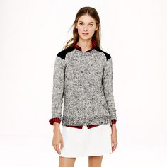 Marled colorblock-shoulder sweater
