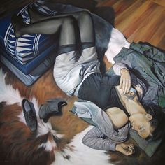 """Calypso Blues"" - Fran Recacha, oil on canvas, 2011 {contemporary figurative artist supine reclining female clothed woman painting}"