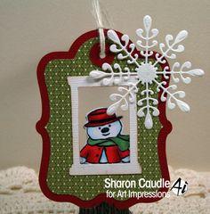 Art Impressions Ai Mini Front & Backs.  Snowman and Penguin set.  Handmade Christmas window tag with snowflake.