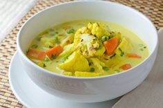 Curried vegetable soup with roast cauliflower