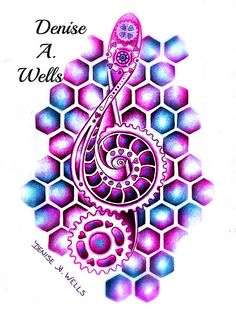 Pink and Blue Treble Clef Tattoo Design by Denise A. Wells