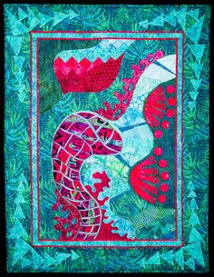 SEA SERPENT ART QUILT WALLHANGING