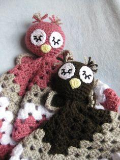 Crochet Pink or Brown Sleepy Owl Security Blanket. Baby Infant Love Blankie Granny Square. $38.00, via Etsy.