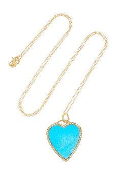 Jennifer Meyer - 18-karat gold diamond and turquoise heart necklace