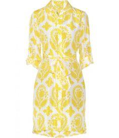 Vera print silk habotai shirt dress.