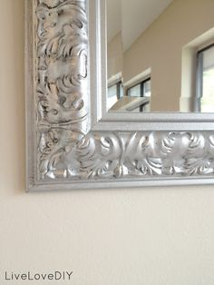 GREAT TIP: to add contrast when spray painting a mirror frame, rub a darker color paint into the grooves before spraying with the silver paint. Spray the silver on lightly and the darker color should show through in some areas.