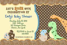 Dinosaur+Dino+Birthday+Baby+Shower+Invitations+YOU+by+cmsprints,+$11.00