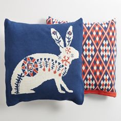 hare knitted cushion from Mozi