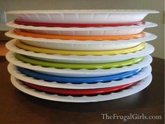 Moving? Pack your plates with foam disposable plates between them! So much easier than wrapping each one in yucky newspaper!
