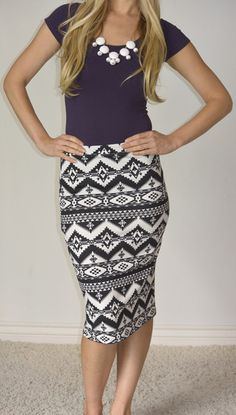 Tribal Print Pencil Skirt- Pencil skirts have become very popular and looked at as very cute and can be dressed up to look rofessional- caroline m