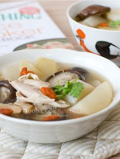 Chicken  Daikon Soup - 500g chicken, skin removed (Or 3 large chicken drumsticks/half chicken/chicken thighs, chopped to rough pieces) - 1 litre of water - 5 slices of ginger - 1 daikon (white radish/白萝卜), about 300g, peeled and cut to large chunks - 8 shiitake mushrooms, stems removed - 1 tbsp wolfberries, soaked in water till puffy - 3 dried scallops - salt