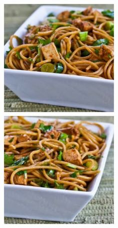 Recipe for Spicy Whole Wheat Sesame Noodles with Chicken, Green Onions, and Cilantro; if you have leftover chicken this can be ready in less than 30 minutes!  [from Kalyn's Kitchen] #QuickAndEasy  #WholeGrain  #KidFriendly