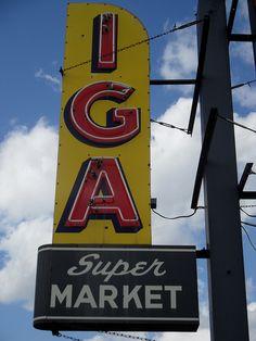 IGA Supermarket - vintage sign