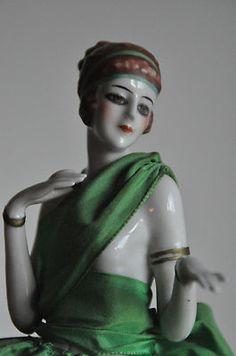 RARE Vintage Porcelain Art Deco Half Doll Figurine Lamp | eBay