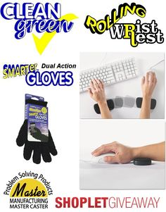 Shoplet.com is giving away 12 sets of Smarter Gloves and Rolling Wrist Rests. Here's how to win: Follow Shoplet on Pinterest, repin this post, go to the Shoplet Blog before 1/25/13 and tell us why you need new folders and document holders. #giveaways