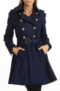 M60 by Miss Sixty Double Breasted Belted Coat In Sapphire