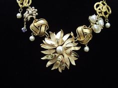 Necklace made from brooches and earrings
