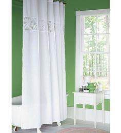 Hand-Crocheted Cotton Shower Curtain