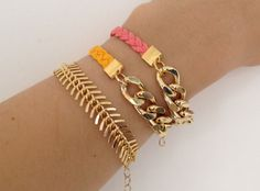 Fish set Chunky Chain Bracelets Set  Arm party  Pink by Brinkel