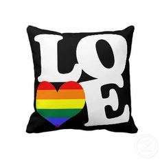 Gay pride rainbow #heart #love cushion / pillow .. double sided with different colors.. #gay #pride products from #Ricaso